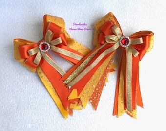Halloween Hair Bows 4 Horse Shows/orange equestrian clothing, gift