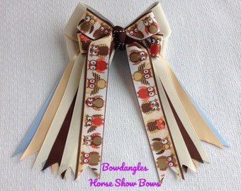 Owls!  Horse Show Hair Bows for Thanksgiving, Harvest, Fall Shows - Owl American Way