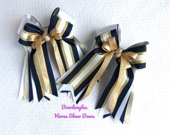 Smaller Shorty Show Bows, equestrian hair bow/navy blue, white and gold