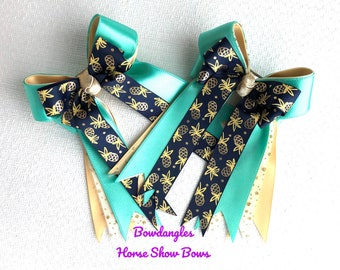 Ready2Mail Equestrian Hair Bows/Teal Green/Gold Pineapples/beautiful gift