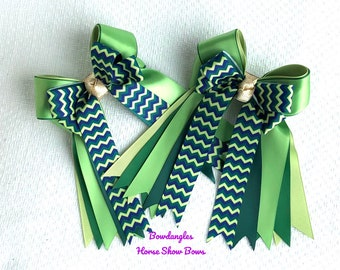 Ready2Mail Green Show Bows 4 Horse Shows, beautiful blue green chevron Bowdangles Show Bows