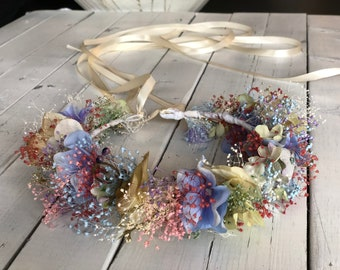 e6741e19e Dried lowers tie back,Tie back back floral crown, lower girl floral wreath
