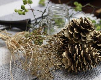 pine cones, gold Baby Breath, Gold Pine Cones