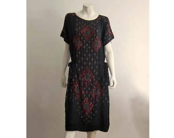 1920s Silk Dress / 20s Silk Flapper Dress / Beaded Silk Flapper Dress / Medium Large