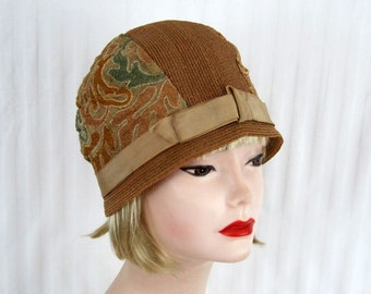 2cd806ddf3601 Vintage 20s Cloche Hat   20s Straw Cloche Hat   Embroidered   21