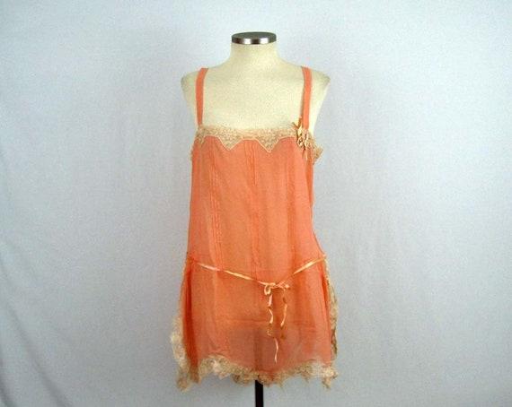 DEADSTOCK 1920s Peach Silk Crepe Step-In Teddy / F