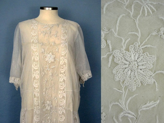 Rare 1920s Wedding Dress / 20s Wedding Dress / Emb