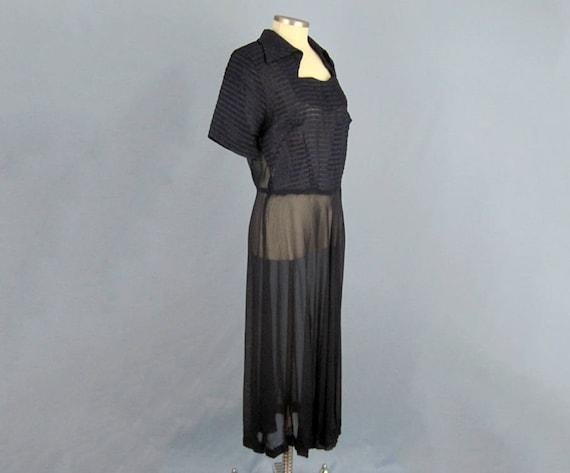 1940s Dress / 40s Sheer Chiffon Dress / Navy Blue… - image 3