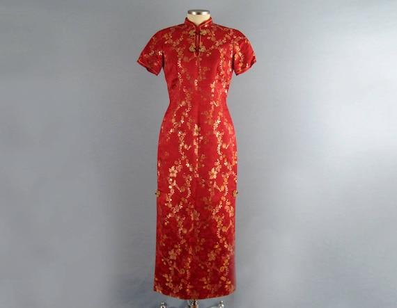 Vintage 50s Silk Cheongsam / Chinese Red Silk Cheo