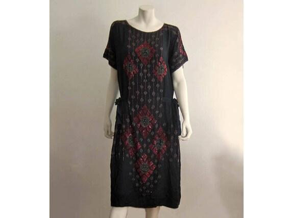 1920s Silk Dress / 20s Silk Flapper Dress / Beaded