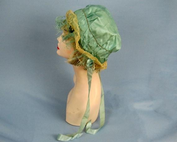 1920s Boudoir Cap / 20s Green Silk Boudoir Cap / S