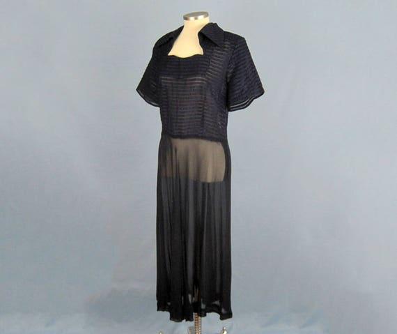 1940s Dress / 40s Sheer Chiffon Dress / Navy Blue… - image 6