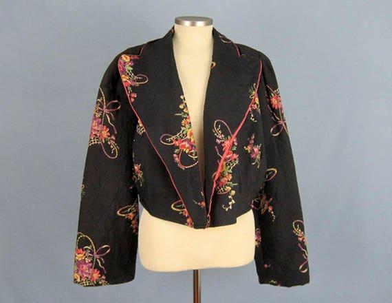 1940s Kamore Bed Jacket / 40s Bed Jacket / Pink Bl