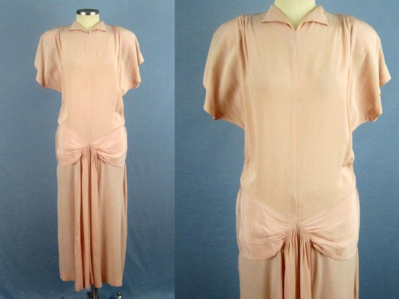 1940s Swing Dress / 40s Pink Crepe Dress / Ruched