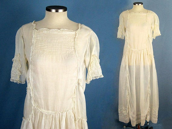 1920s Wedding Dress / 20s Wedding Dress / Embroide