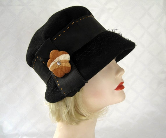 Vintage 20s Cloche Hat / 20s Cloche Hat /  Black F