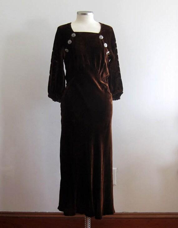 1930s Brown Velvet Gown / 30s Silk Velvet Dress /… - image 3