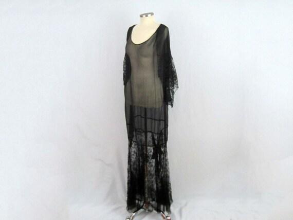 1920s Silk Dress / 20s Tabard Dress / Black Silk … - image 6
