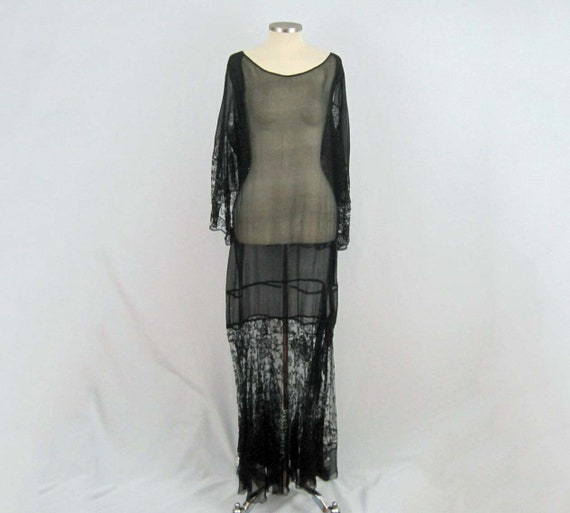 1920s Silk Dress / 20s Tabard Dress / Black Silk C