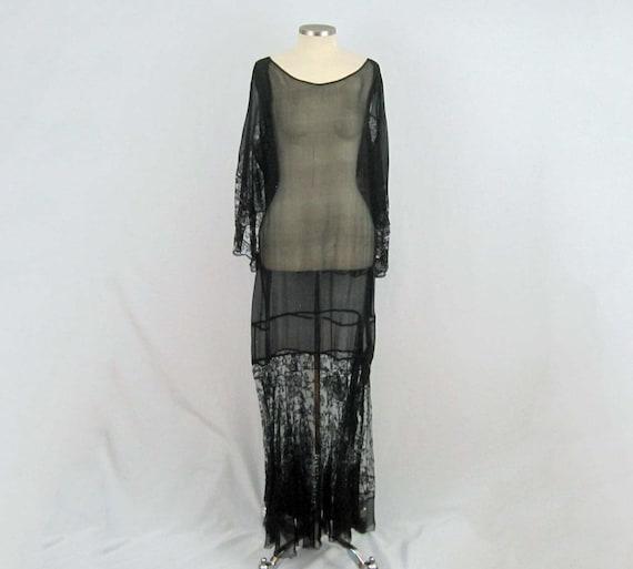 1920s Silk Dress / 20s Tabard Dress / Black Silk … - image 1