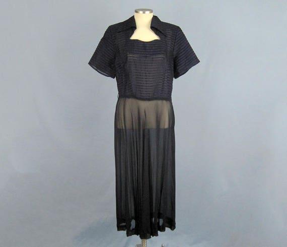 1940s Dress / 40s Sheer Chiffon Dress / Navy Blue… - image 2
