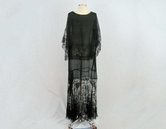 1920s Silk Dress / 20s Tabard Dress / Black Silk … - image 5