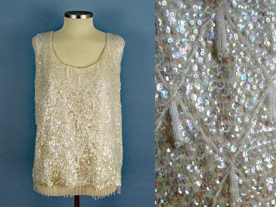 50s Sequins Beaded Wool Sweater / DImensional Bead