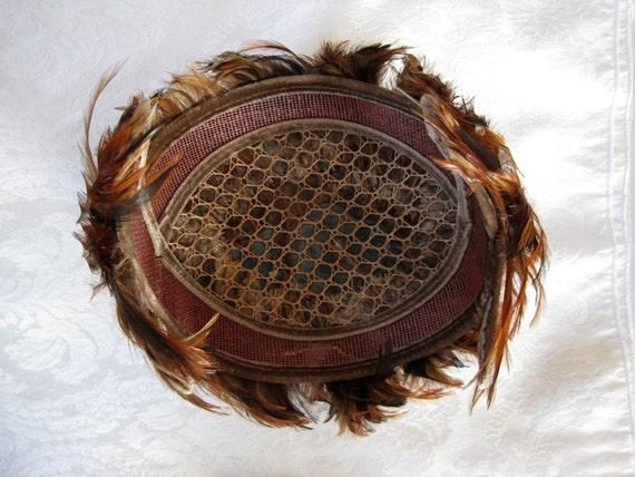 Vintage Women's Hat 50s Pheasant Feather Fascinat… - image 5