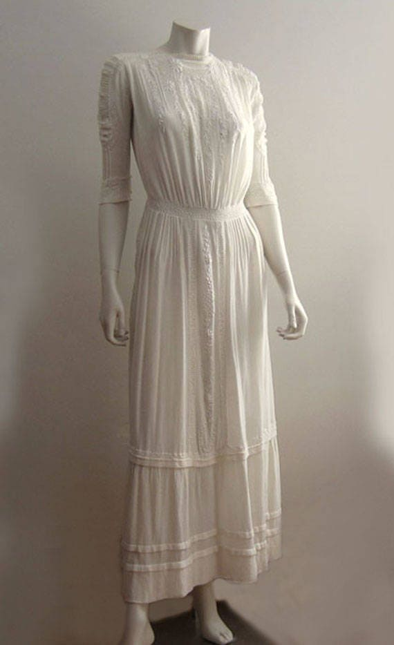 1900s Dress /  Edwardian Tea Dress / Embroidered … - image 7