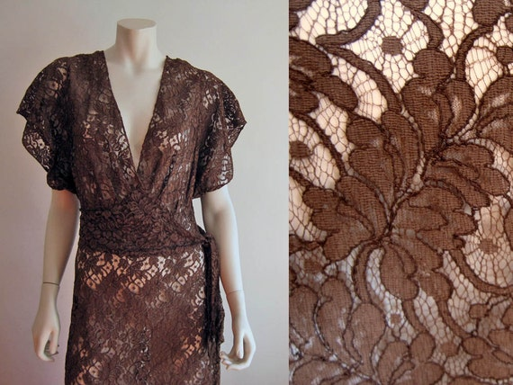 1940s Dress / 40s Gown / Illusion Lace / Brown Cot