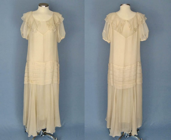 1930s Dress / 30s Silk Dress / Ivory Silk Chiffon… - image 2
