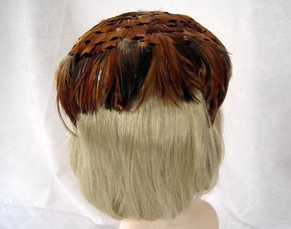 Vintage Women's Hat 50s Pheasant Feather Fascinat… - image 2