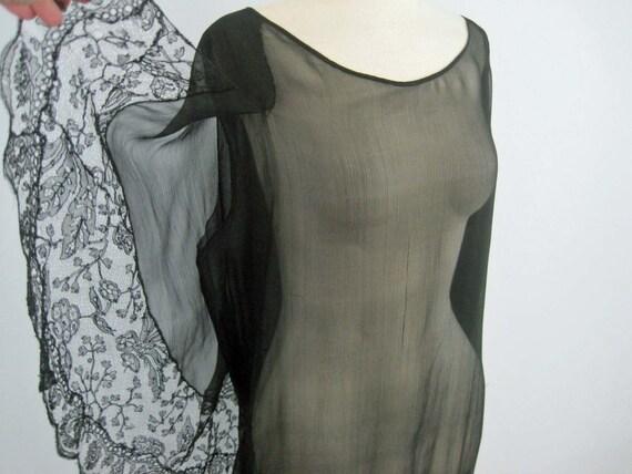 1920s Silk Dress / 20s Tabard Dress / Black Silk … - image 2