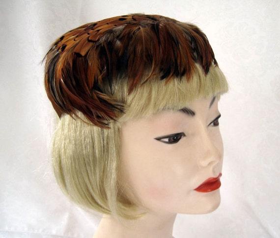 Vintage Women's Hat 50s Pheasant Feather Fascinat… - image 3