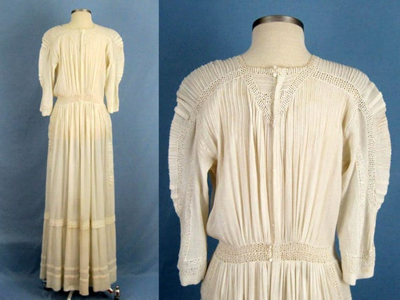 1900s Dress /  Edwardian Tea Dress / Embroidered … - image 3