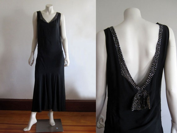 1920s 30s Dress / Deco Gown / Black Silk Gown / SM