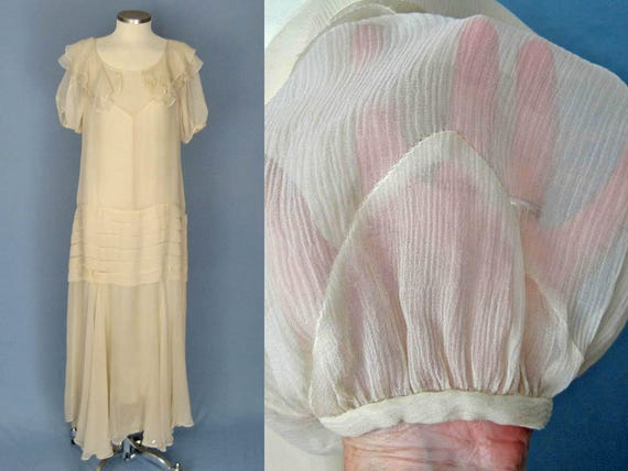 1930s Dress / 30s Silk Dress / Ivory Silk Chiffon