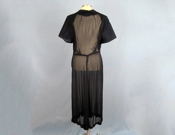 1940s Dress / 40s Sheer Chiffon Dress / Navy Blue… - image 5