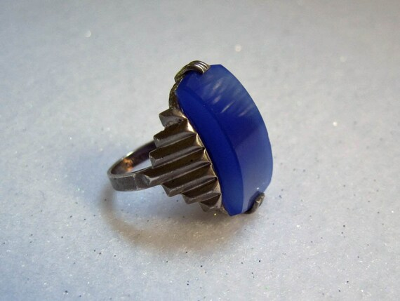 1920s Deco Ring / 20s Sterling Deco Ring / Blue Ch