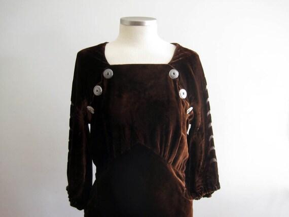 1930s Brown Velvet Gown / 30s Silk Velvet Dress /… - image 2