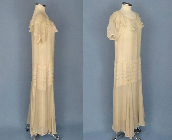 1930s Dress / 30s Silk Dress / Ivory Silk Chiffon… - image 3