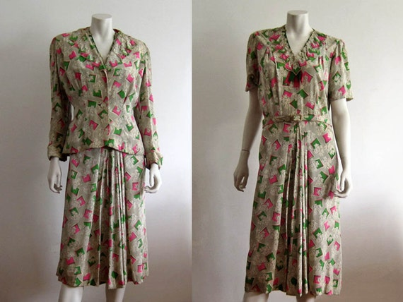 1940s Onondaga Dress / 1940s Novelty Print Silk Dr