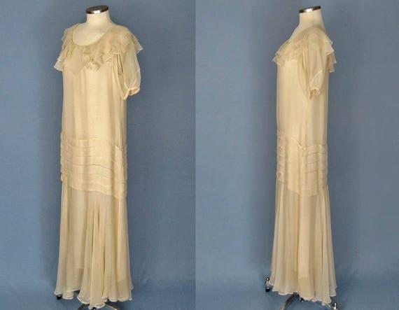 1930s Dress / 30s Silk Dress / Ivory Silk Chiffon… - image 4