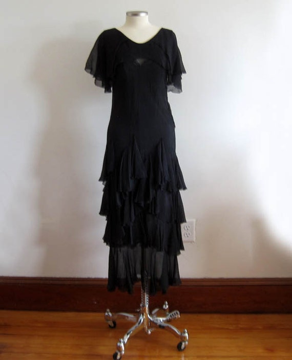 1930s Dress / 30s Silk Dress / Black Silk Chiffon