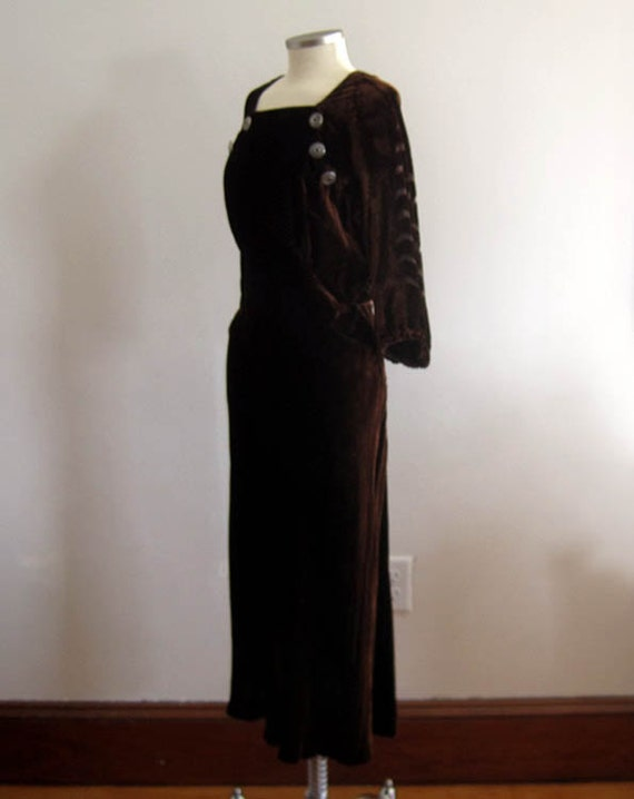 1930s Brown Velvet Gown / 30s Silk Velvet Dress /… - image 4
