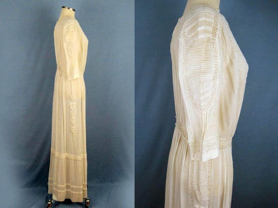 1900s Dress /  Edwardian Tea Dress / Embroidered … - image 2
