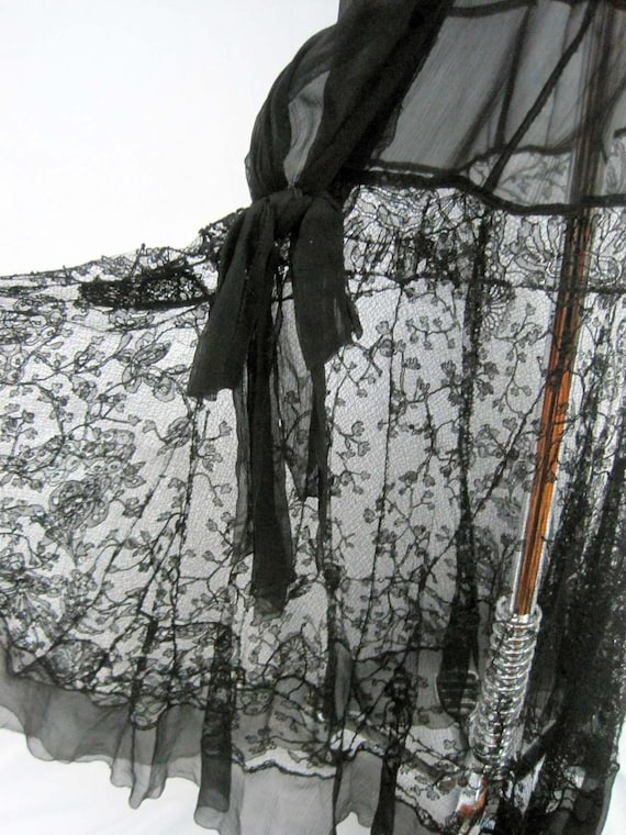 1920s Silk Dress / 20s Tabard Dress / Black Silk … - image 9