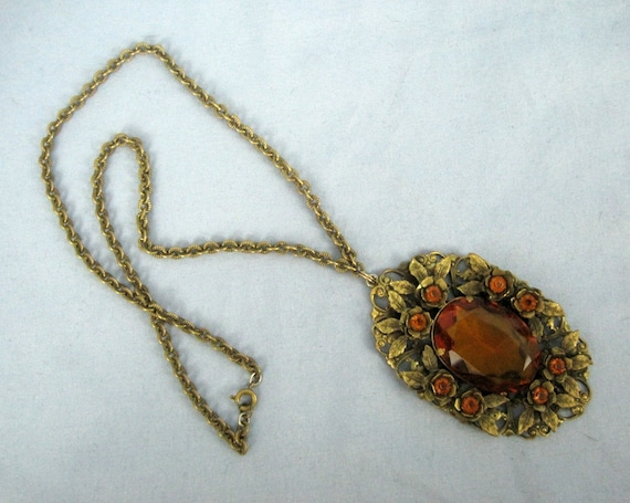 Vintage 30s Necklace / 30s Amber Glass Deco Neckla