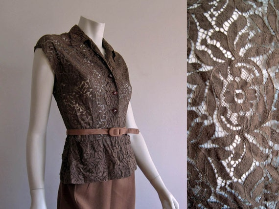 1940s L'Aiglon Blouse / Illusion Lace Blouse / Bro