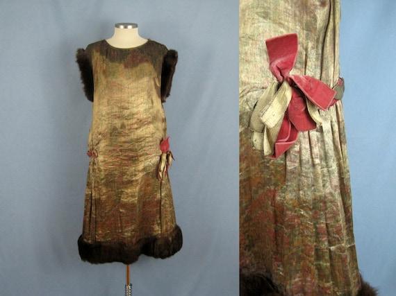 1920s Dress / 20s Gold Metallic Lame Dress / Mink
